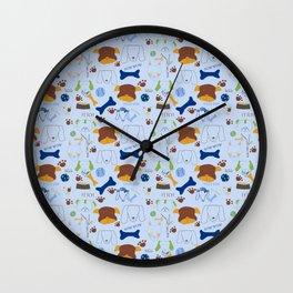 Good Doggie Hand-Drawn Cartoon Baby Blue Dog Print Wall Clock
