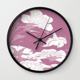 Japanese Flowers. Mauve Wall Clock