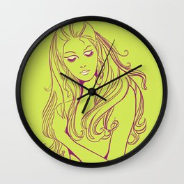 Psychedelic Lady Dream In Green Wall Clock