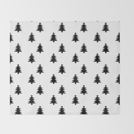 Black and White Christmas Trees Throw Blanket