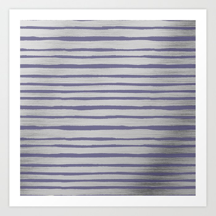 Violet gray silver watercolor brushstrokes stripes Kunstdrucke