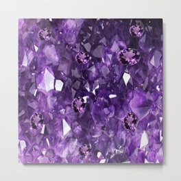 FEBRUARY PURPLE AMETHYST GEMS & CRYSTALS BIRTHSTONE Metal Print
