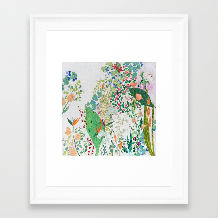 Painterly Floral Jungle on Pink and White Framed Art Print