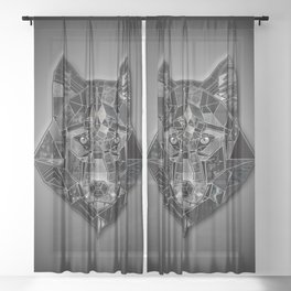 Abstract geometric mosaic wolf head collage of black textures Sheer Curtain