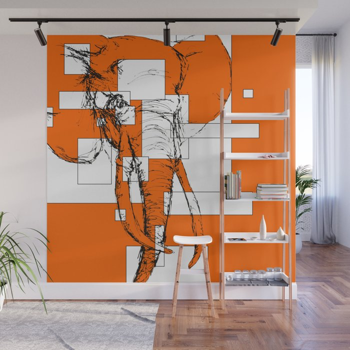 Orange is the New Elephant Wall Mural