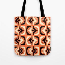 Mid Century Modern Big Bang Pattern Orange and Black 2 Tote Bag