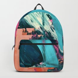 Wild [7]: a bold, colorful abstract mixed-media piece in teal, orange, neon blue, pink and white Backpack