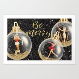 Be Merry Ornaments | Vintage Pin Up Girl Christmas Collage Art Print