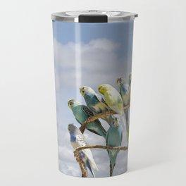 Parakeets perched on a limb Travel Mug