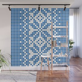 Blue & White Ethnic Pattern Wall Mural