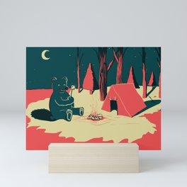 Toasty Bear Campsite Mini Art Print