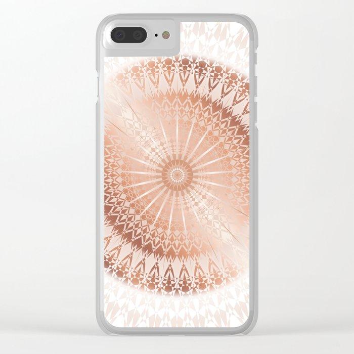 Rose Gold White Mandala Clear iPhone Case
