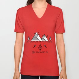 Camping Mountains Design T-shirt Unisex V-Neck