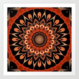Boho Chic Rustic Orange Mandala Art Print
