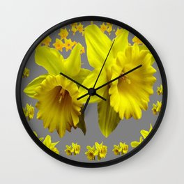 YELLOW DAFFODILS CHARCOAL GREY FLORAL Wall Clock
