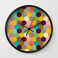 hexagon Wall Clocks featuring Fun Hexagon by Louise Machado