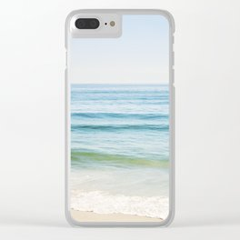 Ocean Seascape Photography, Blue Sea Landscape, Beach Waves Coastal, Seashore Horizon Clear iPhone Case