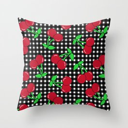 Rockabilly Black + White Gingham & Cherries Throw Pillow