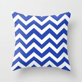 Denim blue - blue color - Zigzag Chevron Pattern Throw Pillow