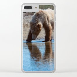 Grizzly Cub Drinking from Stream  Alaska Katmai National Park #Socety6 Clear iPhone Case