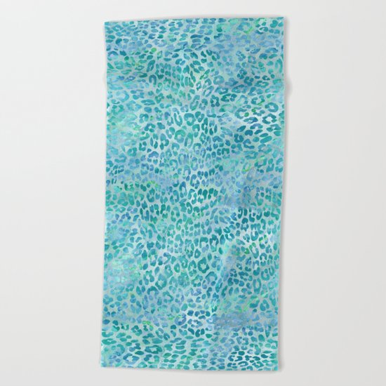 Blue Leopard Print Beach Towel