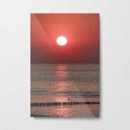 Sunsest in Breskens in the Netherlands Metal Print
