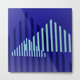 Abstract Blue Peaks Minimalism Metal Print