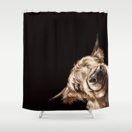 Sneaky Highland Cow in Black Shower Curtain