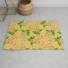 Antique Roses Floral Pattern Rug