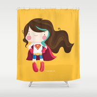 supergirl Shower Curtains featuring Suupergirl by suupergirl