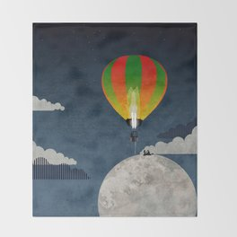 Picnic in a Balloon on the Moon Throw Blanket