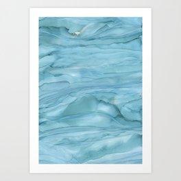 Ice Blue Marble Art Print