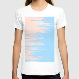 Carefree - Sweet Peach Coral Pink on Blue Raspberry T-shirt