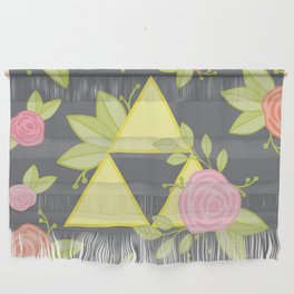 Garden of Power, Wisdom, and Courage Pattern in Grey Wall Hanging