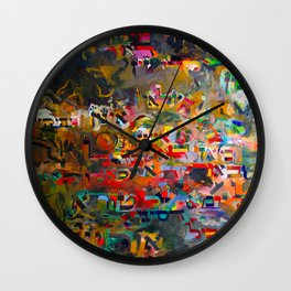 Hebrew Letters on Abstract Painting Wall Clock