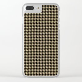 Christmas Gold and Black Houndstooth Check Clear iPhone Case