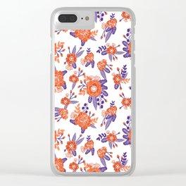 University football fan alumni clemson orange and purple floral flowers gifts Clear iPhone Case