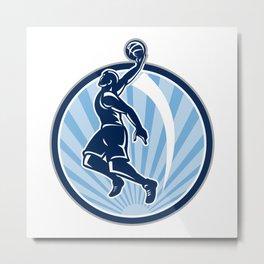 Basketball Player Dunk Ball Retro Metal Print
