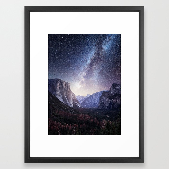 Yosemite Valley Milky Way Framed Art Print