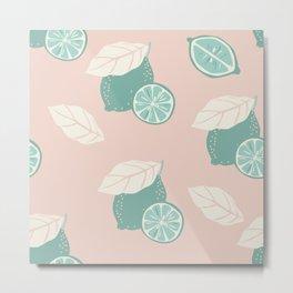 Lemon pattern pink and mint Metal Print