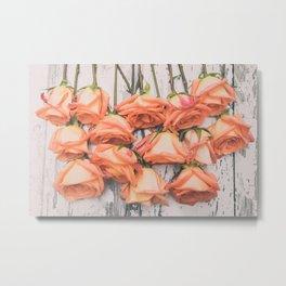 Peach Roses Left Hanging Metal Print