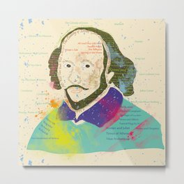 Portrait of William Shakespeare-Hand drawn Metal Print