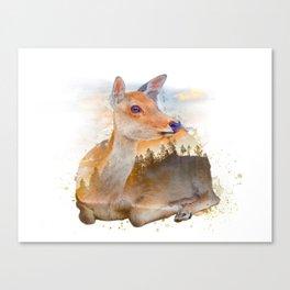 Sitting Deer Landscape Watercolor Canvas Print