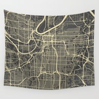 kansas Wall Tapestries featuring Kansas City map by Map Map Maps
