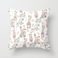 Cute Easter Bunnies with Watercolor Flowers,Sprigs and Leaves Throw Pillow