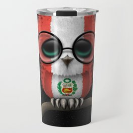 Baby Owl with Glasses and Peruvian Flag Travel Mug