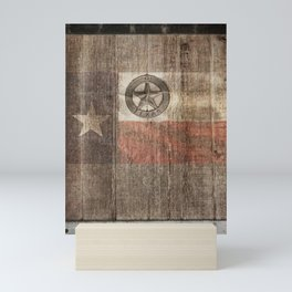 Lone Star State #Texas #woodbackground Mini Art Print