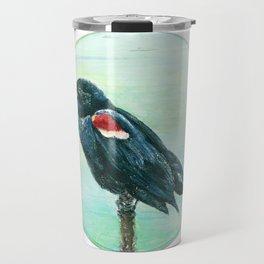 Red-Winged Blackbird Circle Painting Travel Mug