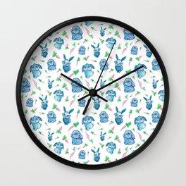 Blue Bunny Pattern Wall Clock