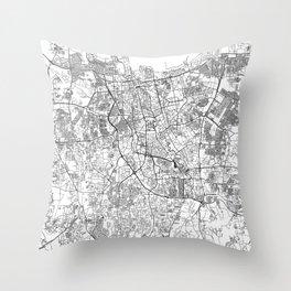 Jakarta White Map Throw Pillow